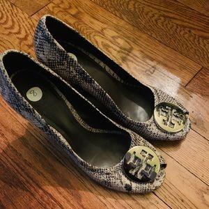 Tory Burch open toe platform heels
